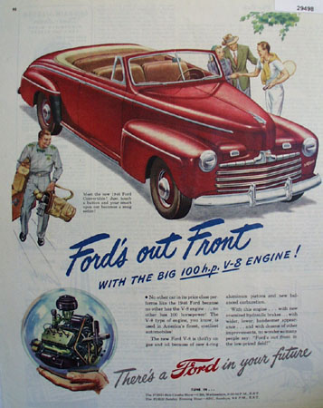 Ford Red Convertible Ad  1946