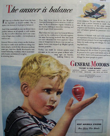 General Motors Boy With Spinning Top Ad 1944