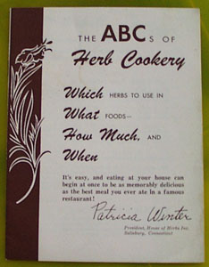 The A B Cs of Herb Cookery Cookbook 20th Century