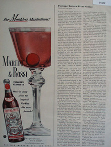 Martini and Rossi Matchless Manhattans 1949 Ad