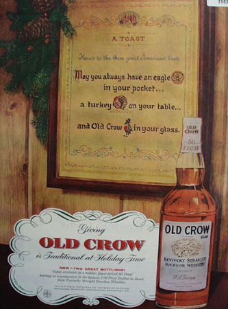 Old Crow Traditional Holiday Time 1955 Ad