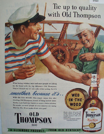 Old Thompson Wed In The Wood Whiskey 1949 Ad