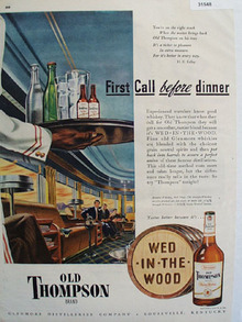 Old Thompson Whiskey Before Dinner 1947 Ad