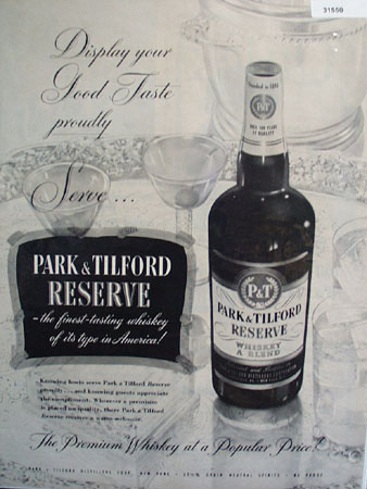 Park and Tilford Reserve Whiskey 1951 Ad