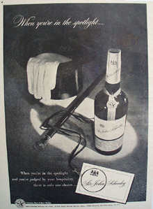 Sir John Schenley Whiskey Spotlight 1948 Ad