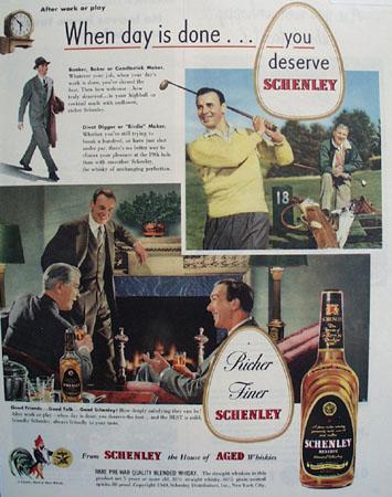 Schenley Whiskey Golf Scene 1949 Ad