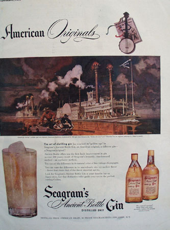 Seagrams Gin Steamboat Racing 1947 Ad