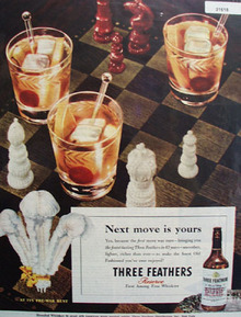 Three Feathers Whiskey Chess Board 1946 Ad