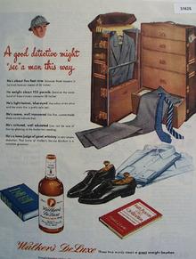 Walkers DeLuxe bourbon Detective 1945 ad