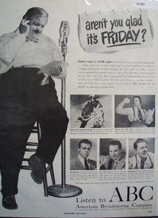 American Broadcasting Co. ABC Fat Man 1949 Ad