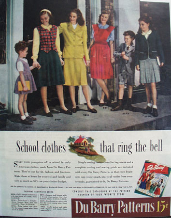 Du Barry Patterns School Clothes 1944 Ad