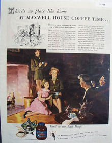 Maxwell House Coffee Home on Leave 1945 Ad