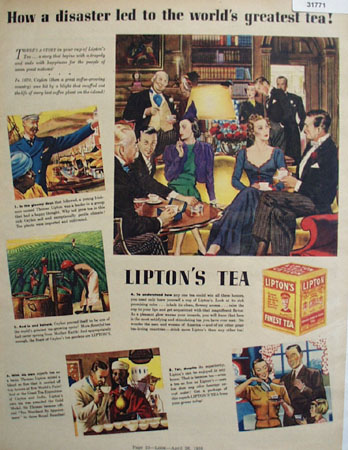 Lipton Tea Worlds greatest Tea 1938 Ad