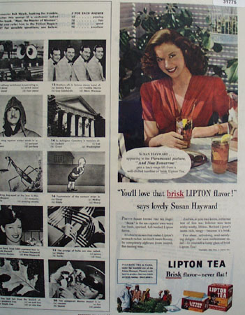 Lipton Tea Susan Hayward 1944 Ad