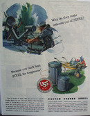 United States Steel Ash Can 1944 Ad