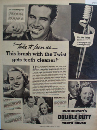 Rubbersets Double Duty Tooth Brush 1938 Ad