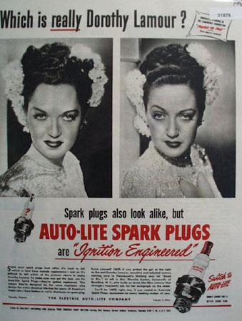 Auto Lite Spark Plugs Dorothy Lamour 1948 Ad