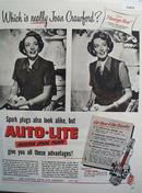 Auto Lite Spark Plugs Joan Crawford 1949 Ad