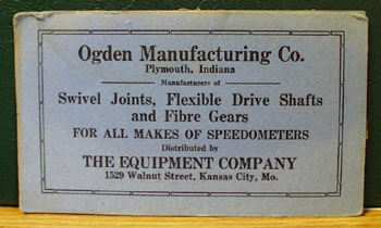 Ogden Manufacturing Co Advertising Ink Blotter