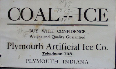 Plymouth IN Artificial Ice Company Ink Blotter