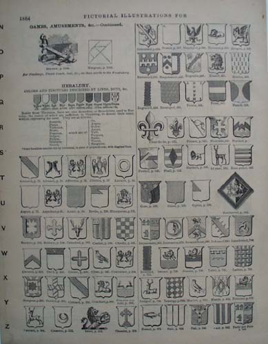 Heraldry Pictorials from the 1800s, Websters Dictionary