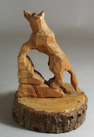 Carved Wolf howling