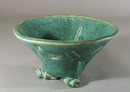 3 footed dragon fly art pottery bowl