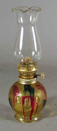 Hong Kong stained glass mid size oil lamp