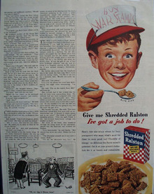 Shredded Ralston Boy In Red Cap Ad  1945