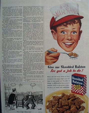 Shredded Ralston Boy In Red Cap Ad  1945