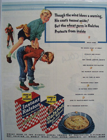Ralston Cereal Boys Playing Leap Frog Ad  1945
