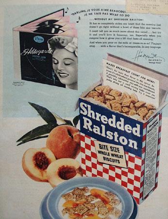 Shredded Ralston and Hildegarde Ad 1945