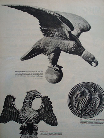 Eagle Perched on Weathervane Picture and Article 1949