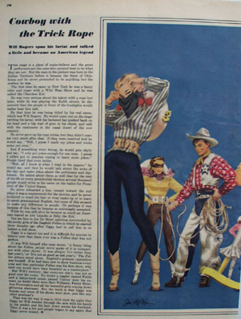 Will Rogers Cowboy With Rope Trick Article 1947