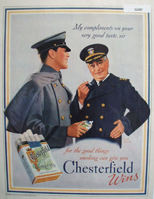 Chesterfield Cigarettes Blue and Gray 1937 Ad