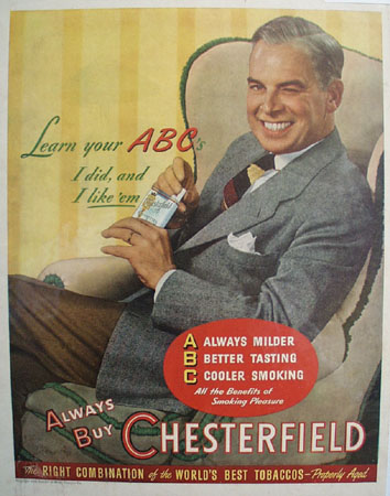 Chesterfield Cigarette Learn your ABCs 1946 Ad