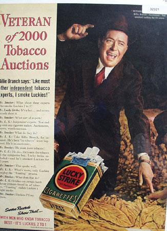 Lucky Strike Cigarette Billie Branch 1938 Ad