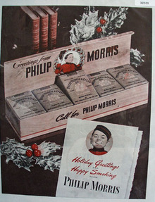 Philip Morris Cigarette Holiday Greetings 1945 Ad