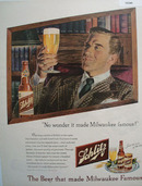 Schlitz Beer That Made Milwaukee Famous 1948 Ad