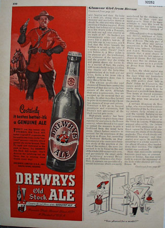 Drewerys Old Stock Ale Mounted Police 1948 Ad