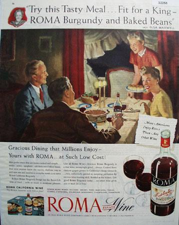 Roma Estate wine Elsa Maxwell 1946 Ad
