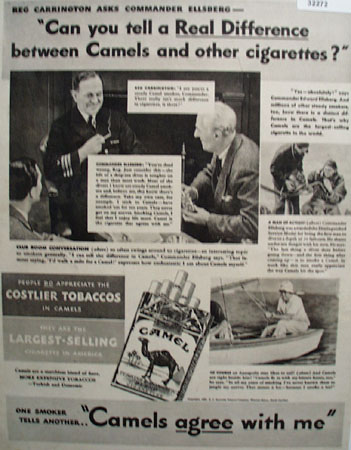 Camel Cigarette Commander Ellsberg 1938 Ad