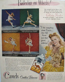 Camel Cigarettes Ballerina On Wheels 1945 Ad