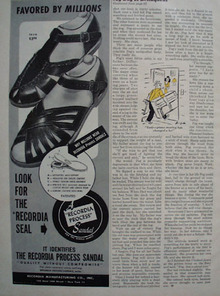 The Recordia Process Sandal 1948 Ad.
