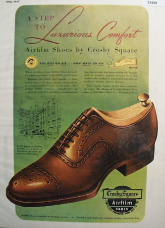 Crosby Square Airfilm Shoes 1947 Ad