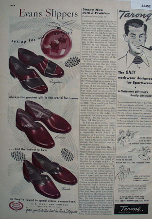 Evans Slippers 100 years Standard 1948 Ad