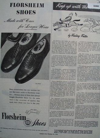Florsheim Shoes Longer Wear 1944 AD