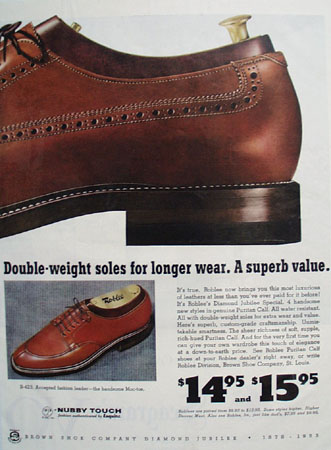 Roblee Shoes Puritan calf 1953 Ad