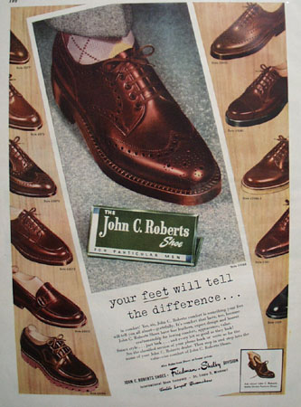 John C. Roberts Shoe Your Feet Will Tell 1948 Ad