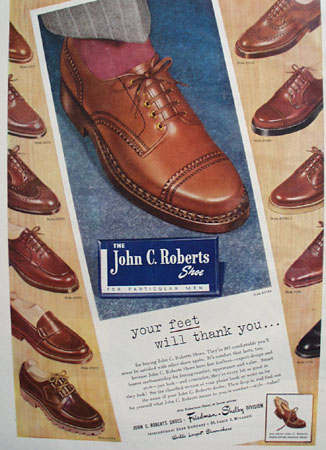 John C. Roberts Shoe Honest Craftsmanship 1948 Ad